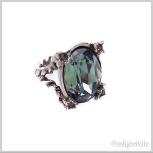 Swarovski Crystal & Brass Plated Rings - Green